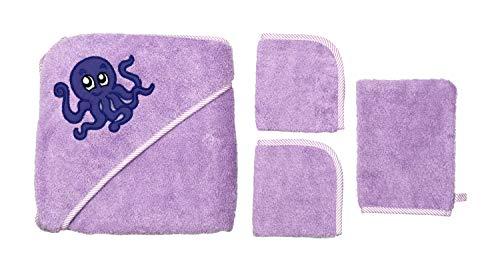 Baby Bademantel mit Kapuze - Baby Bademantel 100% Baumwolle GSM 500 - groß und bequem, tolle Geschenkidee - 90 x 90 cm von 0 bis 6 Jahren (Kaninchen) Set Polpo