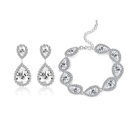 Paxuan Womens Silver/Gold Plated Teardrop White Champagne Crystal Wedding Bridal Jewelry Set Teardrop Pendant Necklace Drop Dangle Earrings Set (Silver Plated White Crystal Bracelet + Earrings)