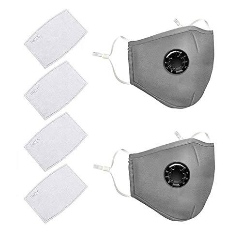AmyGline Outdoor Baumwolle-Maske-Mundschutz,mit Aktivkohlefilter,Wiederverwendbar,Waschbar,Anti-Staub,Atmungsaktiv,Grau Schwarz,für Radfahren (2, Grau)