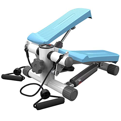 Fitness Stair Stepper with LCD Monitor and Resistance Bands,Mini Stepper Fitness Cardio Exercise Trainer,Twisting Machine, Stepper Equipment for Women and Man (Blue, Max Weight Capacity: 220lb)