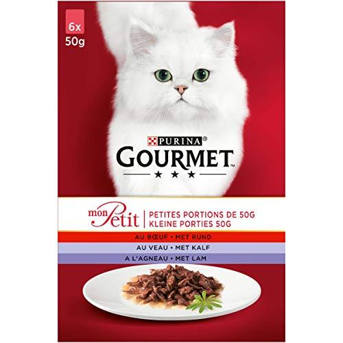 Gourmet Mon Petit Vlees Kattennatvoeding met Rund, Kalf, en Lam, 6 x 50g - doos van 4 (24 portiezakjes; 1,2kg)