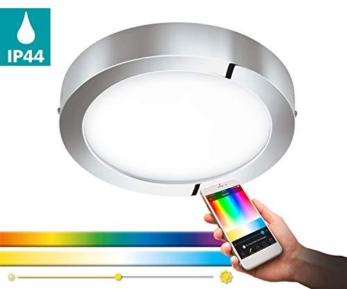 EGLO connect LED plafondlamp Fueva-C, Smart Home plafondlamp, Ø: 30 cm, kleur: chroom, dimbaar, wittinten en RGB kleuren instelbaar, materiaal: gegoten metaal, kunststof, IP44