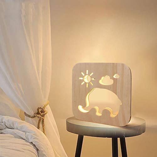 YCEOT Lovely Elephant Sun Cloud LED nachtlampje USB kinderkamer bedlampje met USB-poort woonkamer slaapkamer hout decor