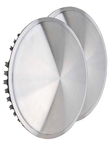 Universeel passende wieldoppen (2 stuks) 16 inch - Moon Caps voor auto's, bestelwagens, caravans, aanhangers, oldtimer, youngtimer (van roestvrij staal).