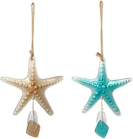 JOYBee Sea Glass Starfish Hanging Ornaments Wall Art Decor Christmas Tree D cor Set of 2 Sea product image