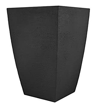 Tusco Products MSQT19BK Modern Square Garden Planter 19-Inches Tall Black