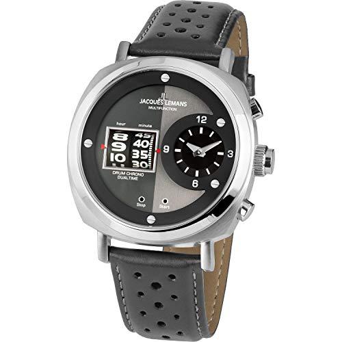 Jacques Lemans Herren-Uhren Analog Quarz One Size Grau 32016507