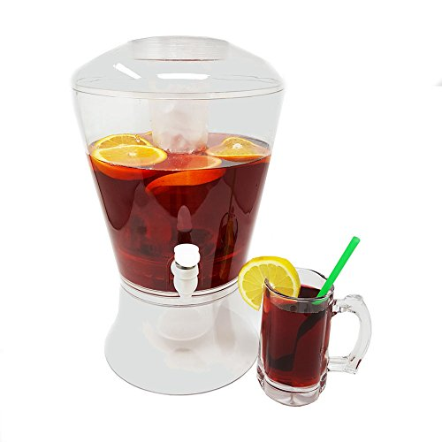 Large 2 Gallon Beverage Dispenser on Stand w/Spout Ice Base and Core Keep Juice and Drinks Cold Shatterproof Acrylic Jug w/Fruit and Tea Infuser and Spigot Perfect for Parties