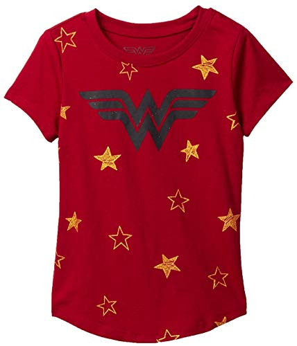 DC Comics Girls T-Shirt Wonder Woman Logo & Stars Print (Dark Red, Large (10/12))