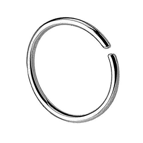 Taffstyle Piercing Continuous Ring Fake Klemmring Dünn Septum Tragus Helix Nase Lippe Ohr Nasenring Ohrpiercing Hoop Clip On Silber 0,8mm x 8mm