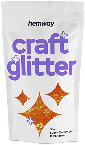 Hemway Craft Glitter – Super Chunky 3 mm – Glitzer für Kunst Handwerk Becher Schule Papier Glas Dekorationen DIY Projekte – 100 g – Fluoreszierendes Orange