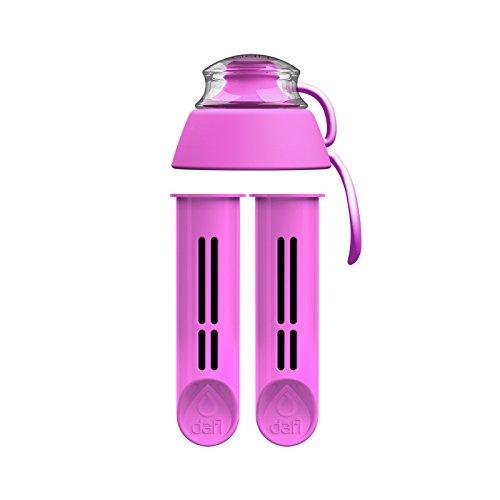 Dafi Wasserflaschenfilter Ersatz 2er Pack + Flaschenverschluss Pink Made in Europe BPA frei