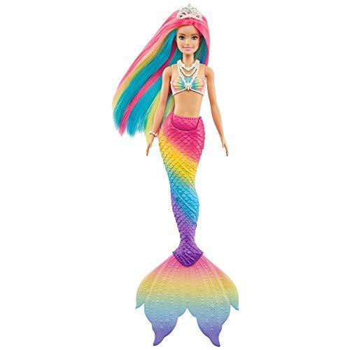 Barbie GTF89 - Dreamtopia Regenbogenzauber Meerjungfrauen-Puppe mit Regenbogenhaaren und Farbwechsel-Funktion, Geschenk für Kinder von 3 bis 7 Jahren