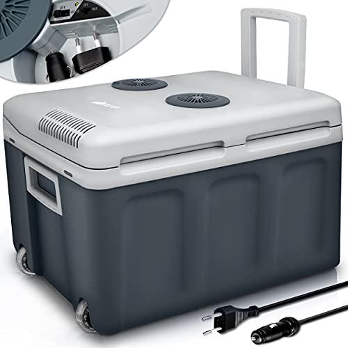 tillvex Kühlbox elektrisch 40L mit Rollen | Mini-Kühlschrank 230 V und 12 V für KFZ Auto Camping | kühlt & wärmt | ECO-Modus (Grau)