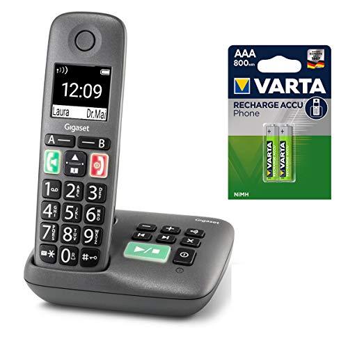 Gigaset Easy mit Anrufbeantworter – Schnurloses Senioren-Telefon mit großen Tasten und extra lauter Klingelfunktion inkl. DECT Phone AAA Akku – hörgerätekompatibel, anthrazit-grau
