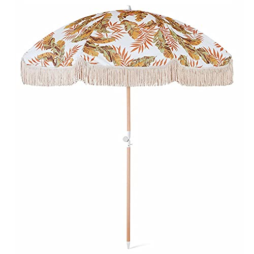 La mejor sombrilla de playa a prueba de viento con sombrilla deportiva portátil, flecos, bolsa de sombrilla de playa con ancla de arena en la parte inferior puntiaguda y protección solar 100% UV