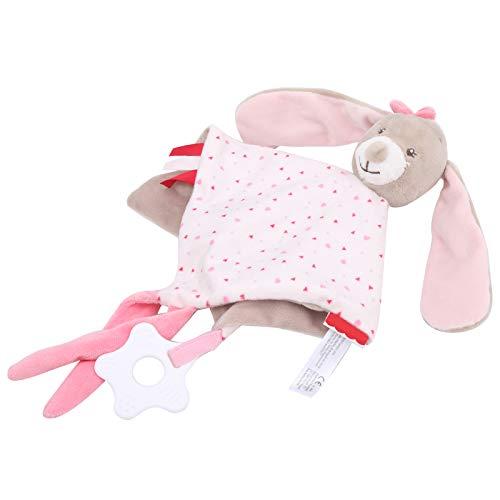 EBTOOLS Manta de Seguridad con Forma de Conejo,Toalla Mordedor para calmar a los bebés Bebé Peluche Mantitas Rosa Socio de Crecimiento Toalla calmante para bebé para Bebé de 0 a 36 Meses