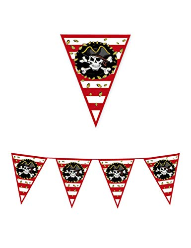 Big Party Guirnalda de Banderas Piratas, Color Negro, Rojo y Blanco, 61755