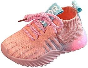 Baby Toddler Boys Girls LED Light Sneakers Walking Shoes 1-6 Years Old Kids Mesh Luminous Sport Running Shoes (18-24 Months, Pink)