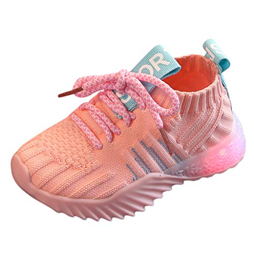 Wulofs Sneakers Toddler Kids Shoes Running Baby Girls Boys Mesh LED Light Luminous Sport Shoes (6.5 US/15-18Months, Pink)