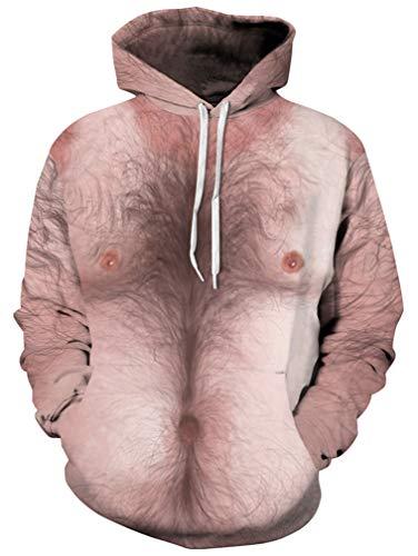 Ocean Plus Herren Kapuzenpullover Lebensecht 3D Grafik Hoodie mit Kängurutasche Pullover mit Kapuze Sweat Hood (L/XL (Brustumfang: 114-134CM), Brusthaar)