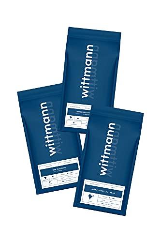 Wittmann Kaffee Probierpaket | 3 x 250g | ganze Bohne | säurearm durch schonende Trommelröstung | Bar Classico, Monsooned Malabar & Kaffeehausmischung | Geschenkidee