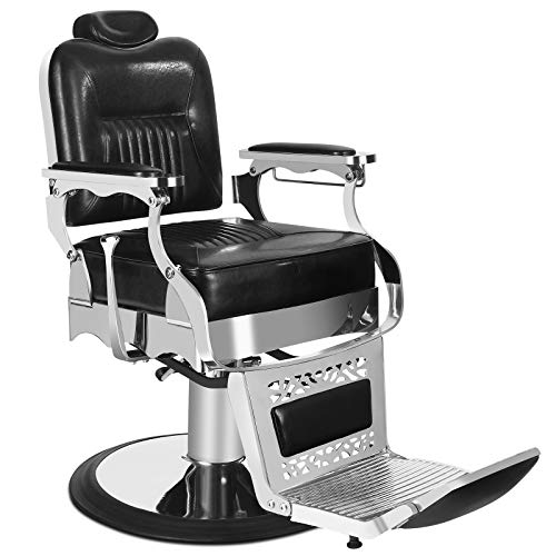 Artist Hand Vintage Barber Chair Heavy Duty Barber Chairs Hydraulic Reclining Salon Chair Tattoo Chair Styling Chair for Salon Equipment (Black)