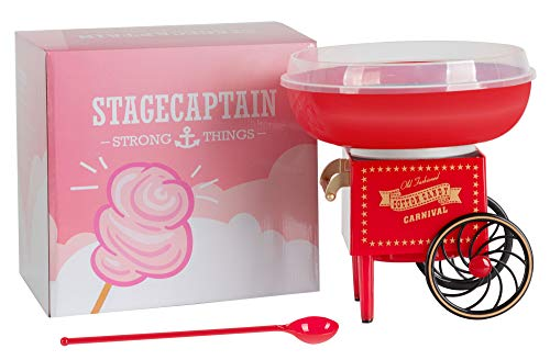 Stagecaptain CFM-500 Zuckerwattemaschine für Zuhause - Cotton Candy Maker für Kindergeburtstag - 500W Leistung für kurze Aufheizzeit - Für Zucker oder Bonbons geeignet - Leicht zu Reinigen - Rot