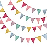 ZYP 150 m Oster-Wimpelbanner, 48 Flaggen, bunte Wimpelkette, Jute, Dreiecks-Flagge für Ostern, Frühling, Party, Dusch-Dekoration