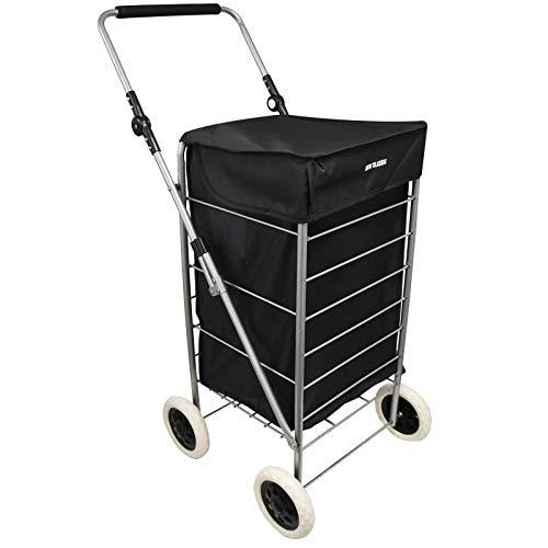 Einkaufstrolley Einkaufsroller Trolley Roller Einkaufswagen klappbar, Faltbare Einkaufstrolley, Einkaufswagen mit Rädern, Einkaufsroller klappbar. Handwagen, Einkaufstasche auf Rädern, Schwarz