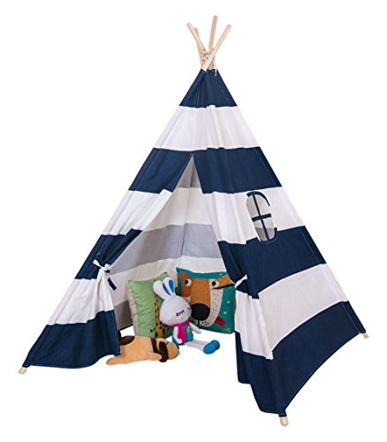 Toysland Indoor Indian Playhouse Teepee Tent for Kids, Toddlers Canvas with Carry Case, Blue Stripe