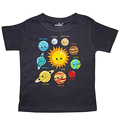 inktastic Cute Planets, Solar System, Astronomy, Toddler T-Shirt 5-6 Black 35a52