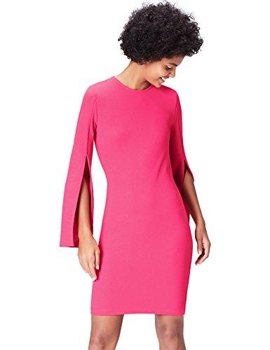 find. Kleid Damen mit Ärmelschlitz und Bleistiftsilhouette, Rosa (Cabaret Pink), 42 (Herstellergröße: X-Large)