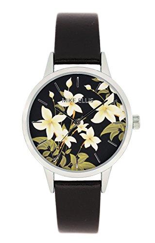 Mike Ellis New York Damen-Armbanduhr La Fleur Analog Quarz Leder SL4310A8