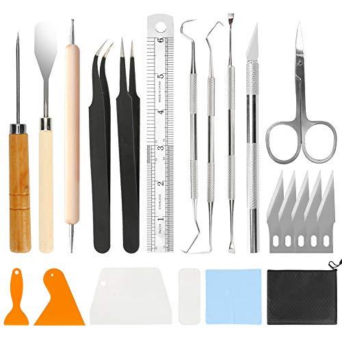 Brynnl Juego de herramientas para desmalezar artesanales de 22 piezas, modelo de herramientas básicas de vinilo para manualidades que incluyen ganchos para deshierbar, espátulas y bolsa de transporte