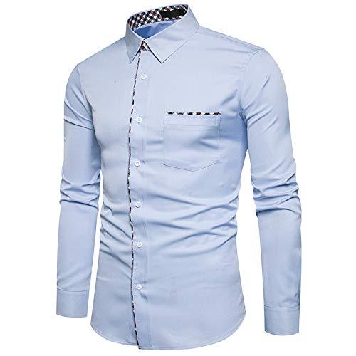 Camicie da Uomo Polsini della personalità Americana Camicie a Maniche Lunghe Stampate a Quadri Camicie Casual alla Moda XXL