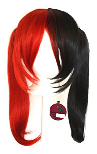 Nanako - Natural Black and Scarlet Red Split Wig 18'' Pigtails with Part and Long Bangs
