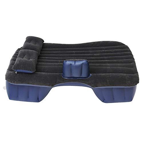 Cama de camping inflable para asiento trasero de coche, colchón de aire, cama plegable, reposo para dormir, camping + almohadas negras