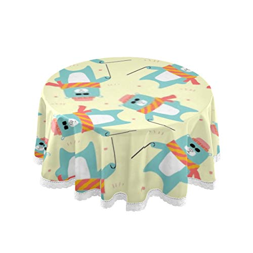 HHL Mantel de Mesa, 60 Pulgadas Redondo Big Cool Bear con Gafas de Sol Windy Table Cover Mantel de impresión Lavable Comedor Decorativo para Vacaciones en casa Fiesta de Navidad...