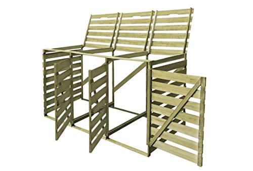 Zerone - Casetta per pattumiera, in legno, con 3 scomparti, per giardino, cortile, strada, capacità di stoccaggio di 3 x 240 L