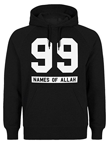 Halal-Wear 99 Names of Allah – Sudadera islámica con capucha, ropa musulmana islam Fun Negro L