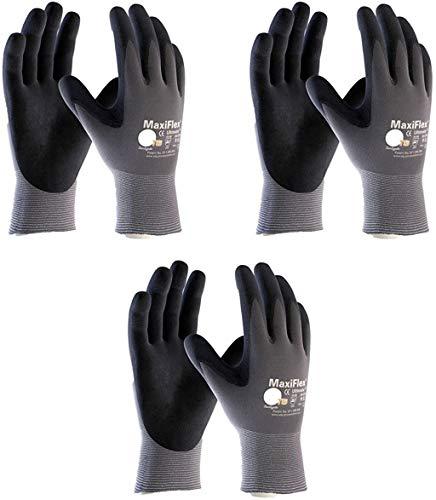 Maxiflex 34-874 Ultimate Nitrile Grip Work Gloves, Large, 3 Pair
