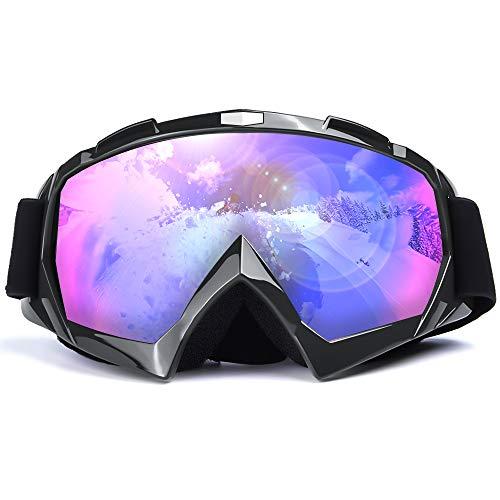 Gafas de Esquí, Gafas de Snowboard Sin Marco con Protección UV, Antiniebla y a Prueba de Viento y Elásticas para Esquiar, Gafas de Ciclismo para Motos de Nieve, Deportes al Aire Libre (Black)
