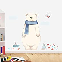 Holly LifePro White Bear Wall Decals Peel and Stick Wall Sticker for Home Bedroom Nursery Room Wall Decor Style-Three