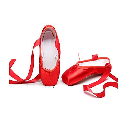 YHWD Ballett Spitzenschuhe Tanzschuhe Ballettschläppchen Mit Sanft Komfortabel Für Mädchen Frauen,Rot,Size 21.5