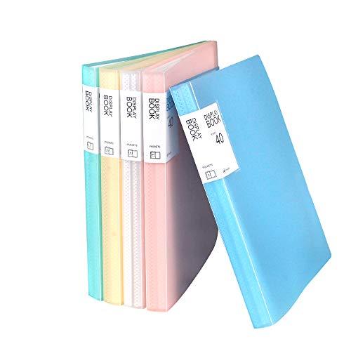 クリアブック a4 タテ 40ポケット 固定式 透明表紙 ミックス 5冊入り (五色, 40ポケット)