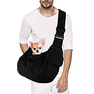 SlowTon Pet Sling Carrier, Dog Papoose Hand Free Puppy Carry Bag with Bottom Supported Adjustable Padded Shoulder Strap and Front Zipper Pocket Safety Belt for Small Pet Daily Use (Waterproof Black) 20