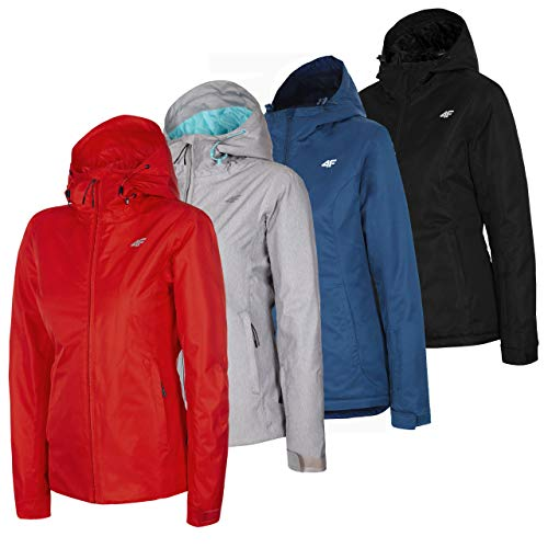 4F Winterjacke Damen | Snowboardjacke Schwarz Grau Rot Blau | Skijacke mit Kapuze | Warme Jacke | Kapuzenjacke für Winter | Wassersäule 5.000 mm Winddicht Wasserdicht (Grau, M)