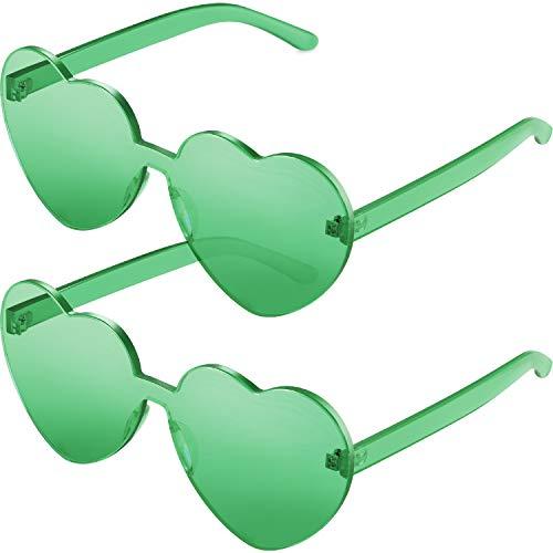 2 Pieces Heart Shape Rimless Sunglasses Transparent Candy Color Frameless Glasses Love Eyewear (Green)