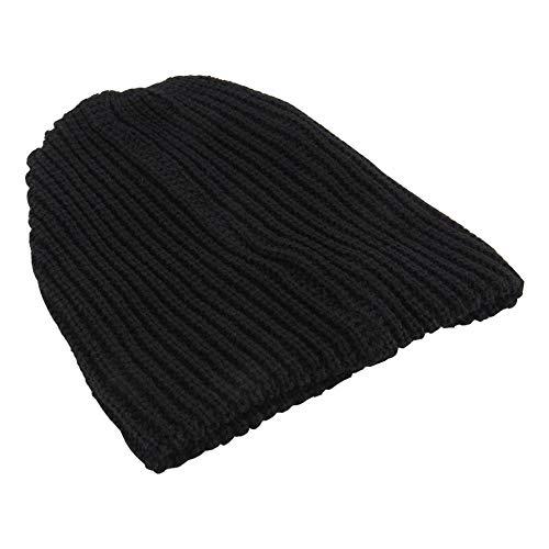 CVBN Moda cálida para Hombre, cálido Invierno, Tejido de esquí, Gorro Holgado de Gran tamaño, Gorro LZ003, Negro